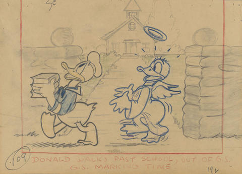 Donald's Better Self, Disney Studio Artist (1938) © Disney / Graphite and color pencil on paper