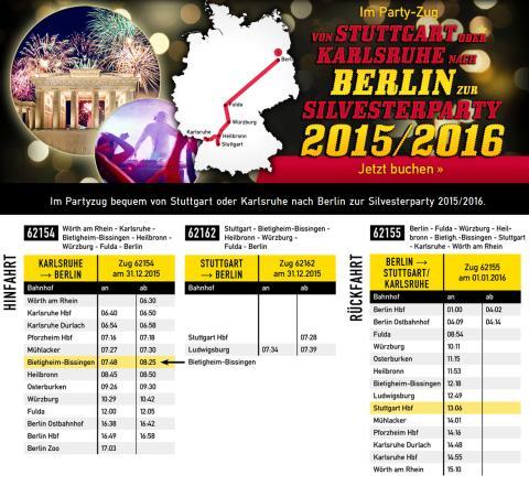 Fahrplan SilvesterExpress 2015/2016