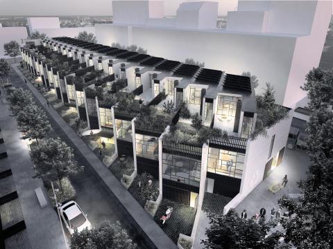 20 rækkehuse bygget af upcyclede materialer på vej i Ørestad Syd