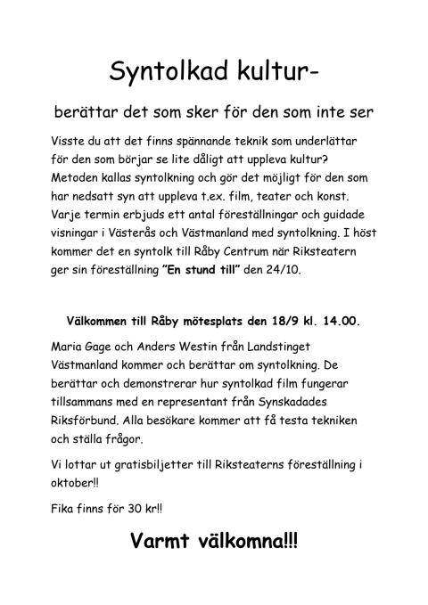 Information om syntolksmöte på Råby 18 september