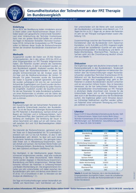 Handout Studie Bundesländervergleich der Teilnehmer an der FPZ Therapie