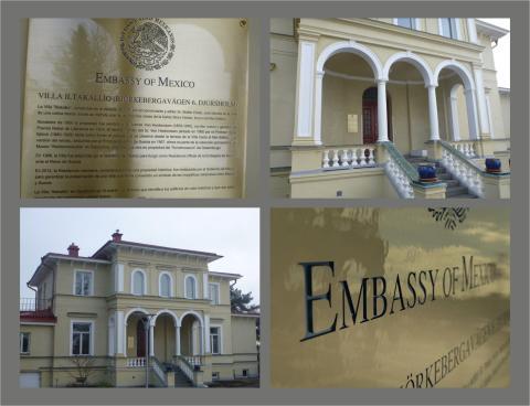 Mässingsskylt till Mexikanska Ambassaden Djursholm