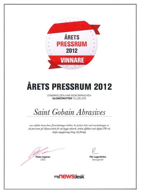 Saint-Gobain Abrasives – Vuoden Uutishuone 2012, Diplomi