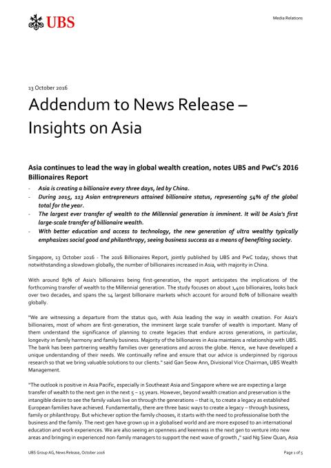 UBS-PwC Billionaires report, Addendum to News Release – Insights on Asia