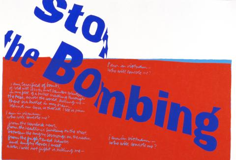 Syster Corita Kent, stop the bombing, 1967, screentryck, 45 x 63 cm