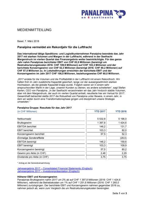 Panalpina vermeldet ein Rekordjahr für die Luftfracht