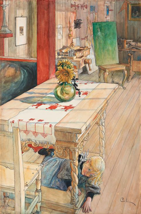 """Kurragömma"" av Carl Larsson på Important Winter Sale"