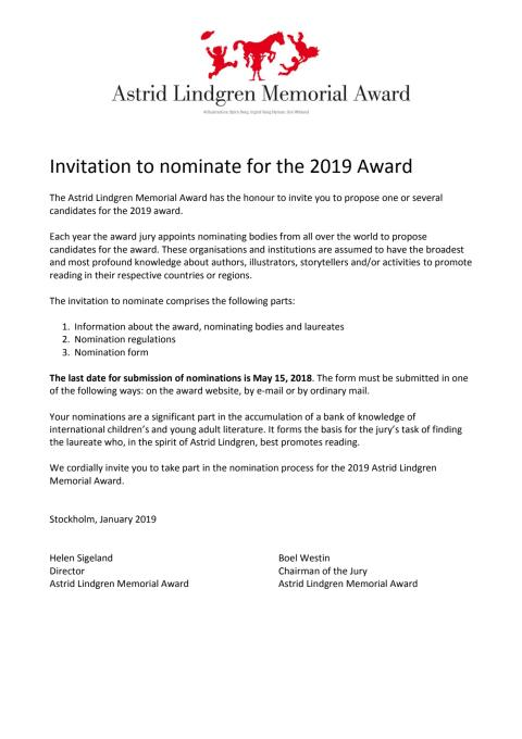 Invitation to nominate