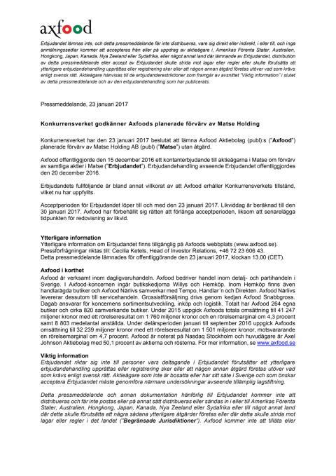 Konkurrensverket godkänner Axfoods planerade förvärv av Matse Holding