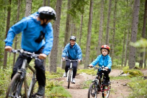Cyklande familj i skogen
