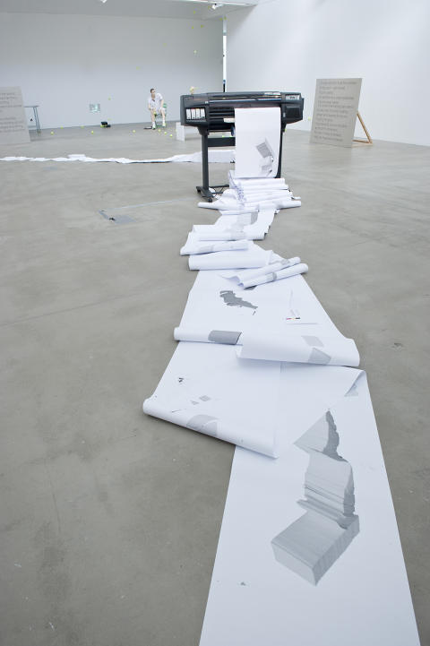 Joanna Hutton: sculpture; paper, HP Designjet printer, laptop