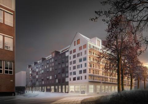 Hornsberg, vy från parken mot korsningen Elersvägen/ Nordenflychtsvägen. Bild: AIX arkitekter.
