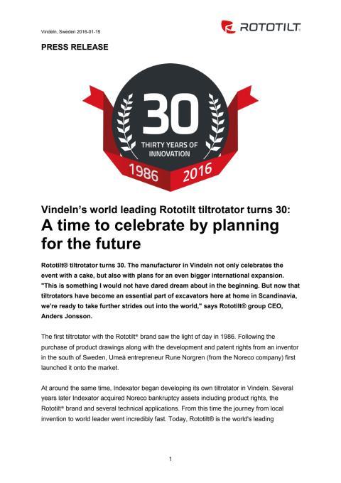 Press release Rototilt celebrates 30 years