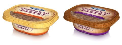 Pastejköket lanserar två bakade pastejer i ny återförslutningsbar ask.