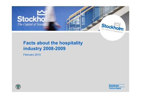 Data and statistics on the hospitality industry in Stockholm 2009