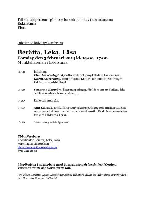 Program konferens i Eskilstuna
