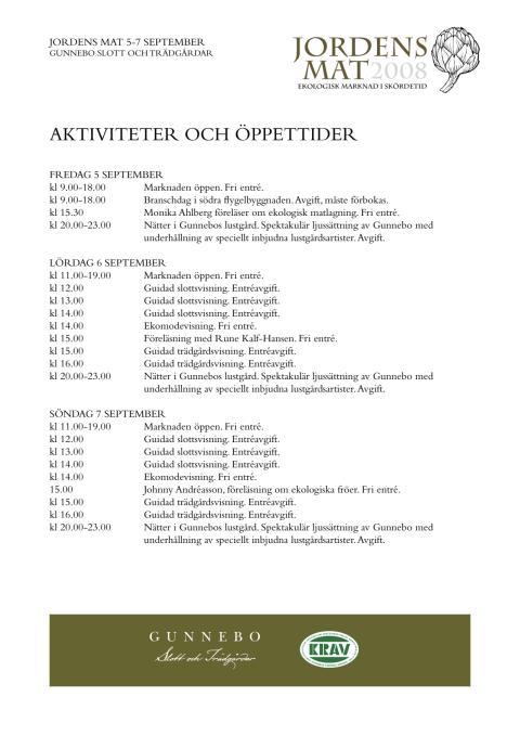 Program Jordens Mat 5-7 september