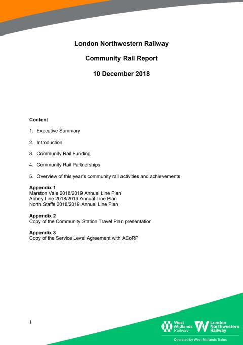 Community  Rail Report - London Northwestern Railway