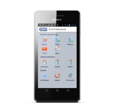 Mobilfakturera till Android - Startskärm