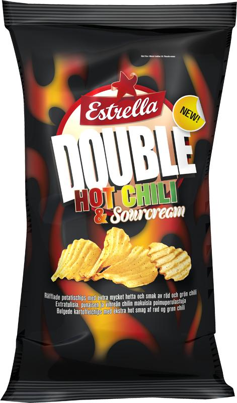 En het nyhet från Estrella - Double Hot Chili & Sourcream Chips