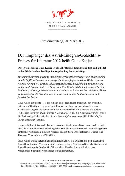 Pressmeddelande: Guus Kuijer ty
