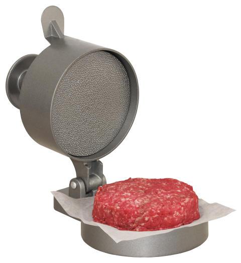 Hamburgerpress öppen med burgare