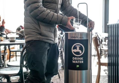 Trinkwasser-Brunnen in Laax, Graubünden