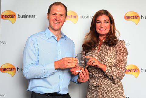 Nectar Business Tradesperson of the Year, James Lanwarne, and Nectar Business Small Business Awards judge, Karren Brady
