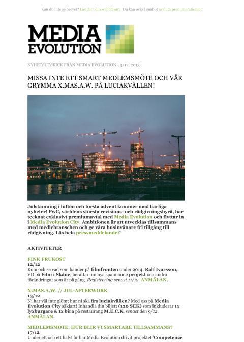 Newsletter 03.12.13 - MISSA INTE ETT SMART MEDLEMSMÖTE OCH VÅR GRYMMA X.MAS.A.W. PÅ LUCIAKVÄLLEN!