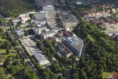 Flygbild på Akademiska sjukhuset.