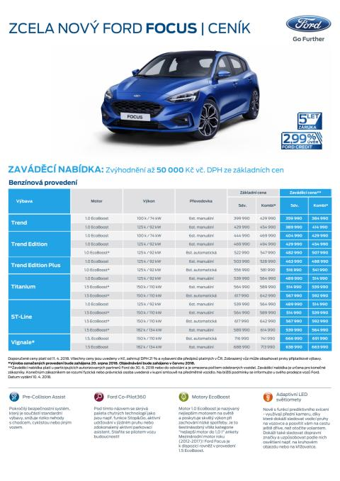 Nový Ford Focus - ceník