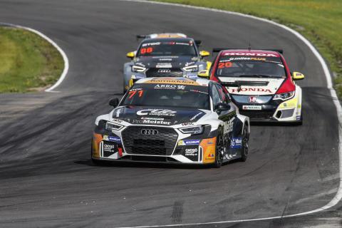 Tobias Brink, Audi (71), Mattias Andersson, Honda (20) och Reuben Kressner, Audi (88), är de enda som hittills snuvat toppteamen på pallplatser i STCC. I helgens deltävling på Anderstorp hoppas trion på ännu bättre utdelning. Foto: Tony Welam/STCC