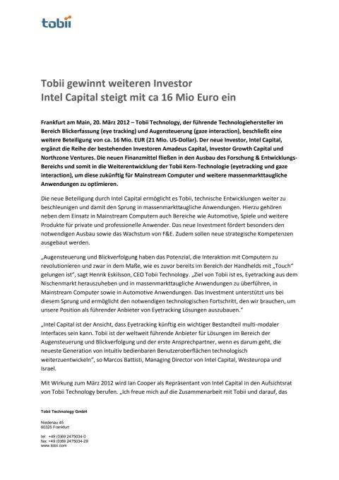 Tobii gewinnt weiteren Investor Intel Capital steigt mit ca 16 Mio Euro ein