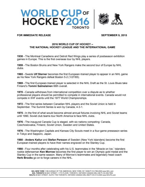 Time line World Cup of Hockey