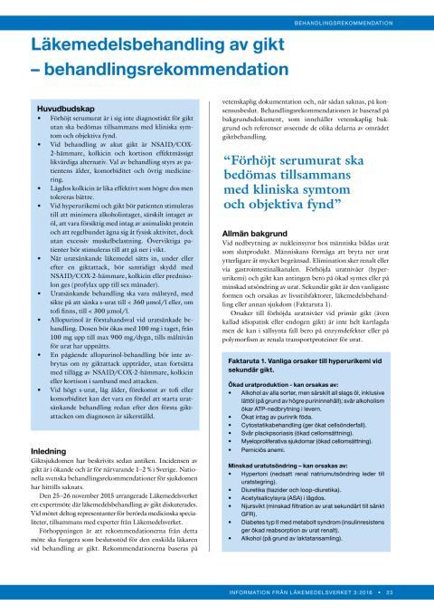 Läkemedelsbehandling av gikt - behandlingsrekommendation
