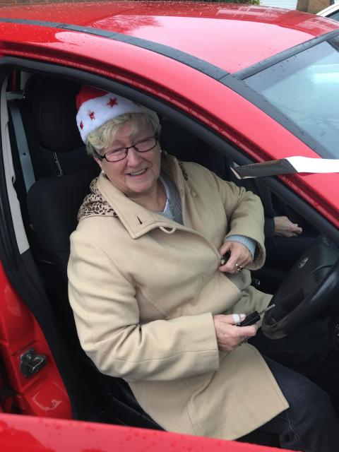 Mrs Gibbs with new car