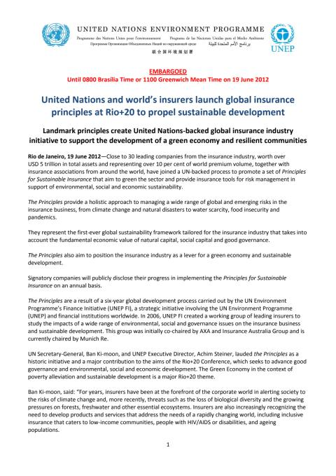 FNs pressemelding: Prinsipper for bærekraftig forsikring