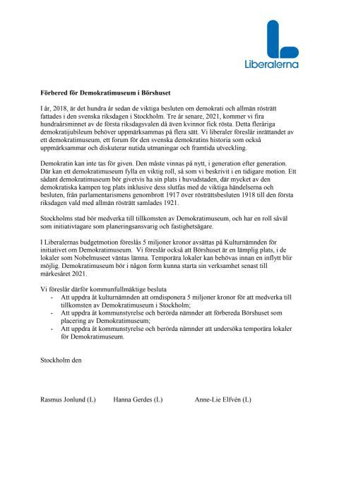 Motion om Demokratimuseum