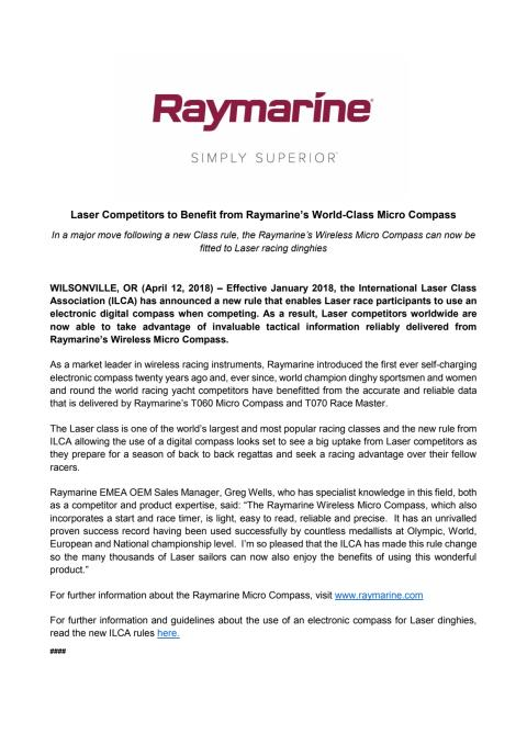 Laser Competitors to Benefit from Raymarine's World-Class Micro Compass