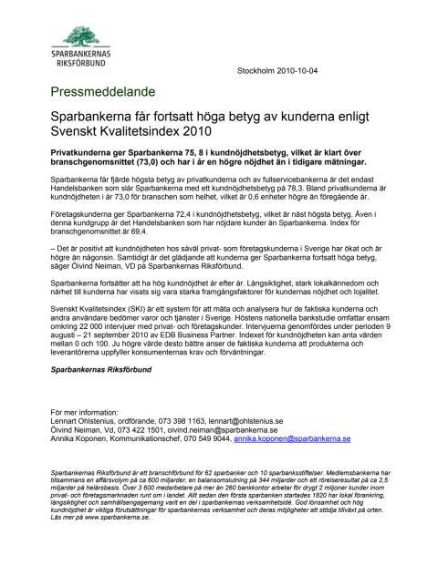 Kunderna ger Sparbankerna fortsatt höga betyg enligt Svenskt Kvalitetsindex 2010