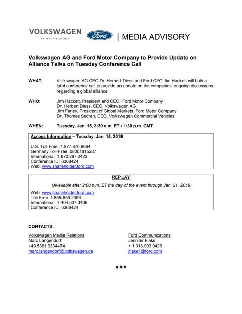 Ford VW Media Advisory
