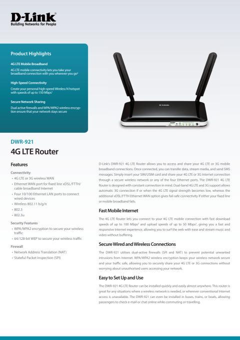 Produktblad - D-Link 4G LTE Router (DWR-921)
