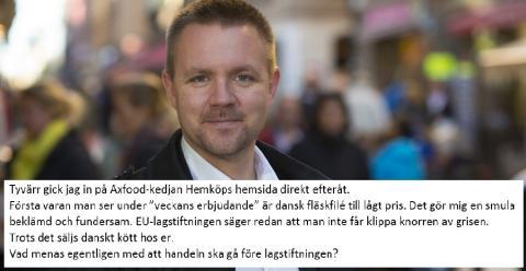 Fredrick Federley skriver öppet grisbrev till Åsa Domeij, miljö- och socialt ansvarig, Axfood