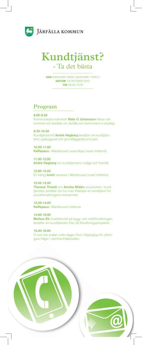 Program för kundtjänstseminarium 19 oktober