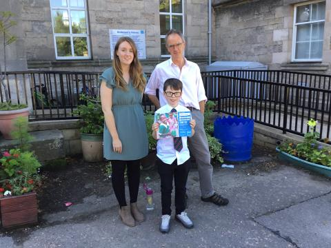 P7 teachers Miss Jardine and Mr Sleaford and former Andersons Primary pupil, Harley Sharp.