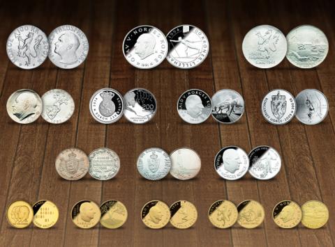 Utvalgte norske minnemynter i sølv og gull_foto samlerhuset