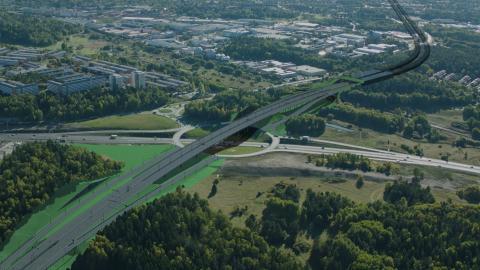 JV Veidekke Implenia bygger trafikplats Hjulsta Södra