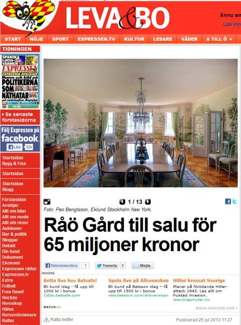 Råö Gård till salu för 65 miljoner kronor