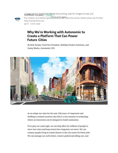 Ford i samarbejde med Autonomic - CES 2018