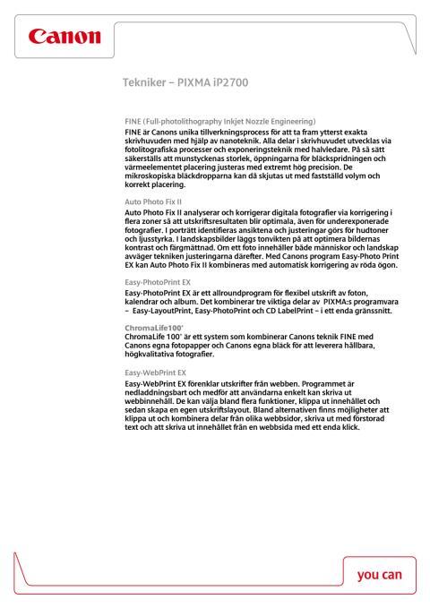 Teknikförklaring PIXMA ip2700